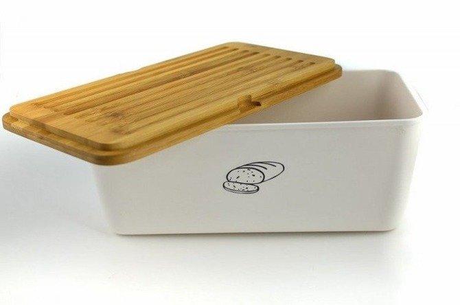 Chlebak KESPER z deską do krojenia Biały