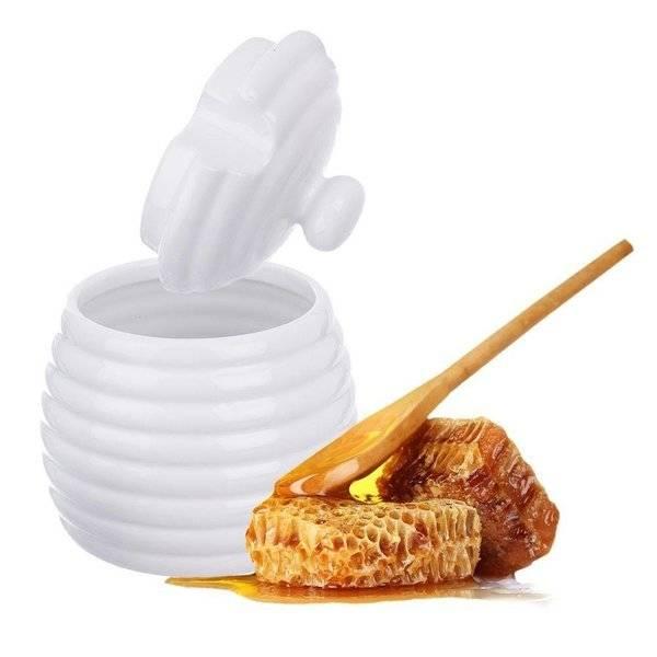 Pojemnik porcelanowy na miód z pokrywką i łyżeczką ORION