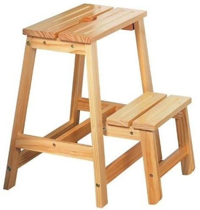 Składany stołek drabinka z drewna sosnowego Kesper 49cm (koniec produkcji)
