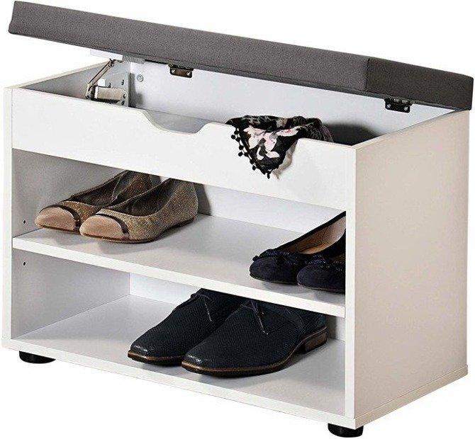 Szafka na buty biała Kesper 15914 ze schowkiem i siedziskiem 60x30x47cm