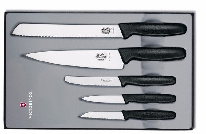Victorinox zestaw 5 noży czarny w etui