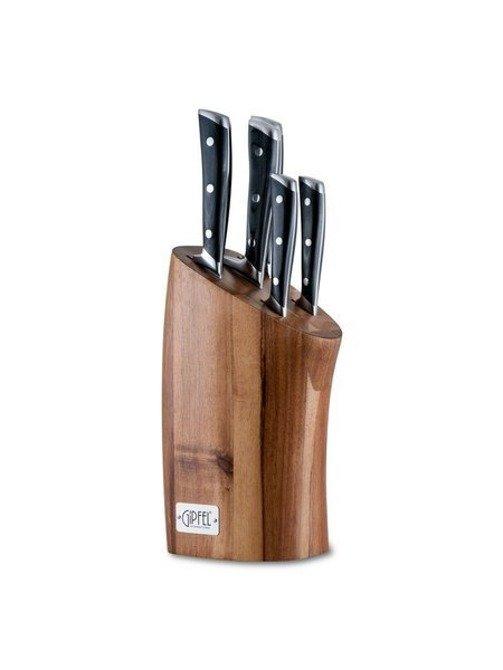Zestaw 5 noży molibdenowo wanadowych w drewnianym bloku Gipfel